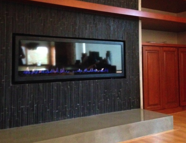 Home remodel, concrete fireplace hearth